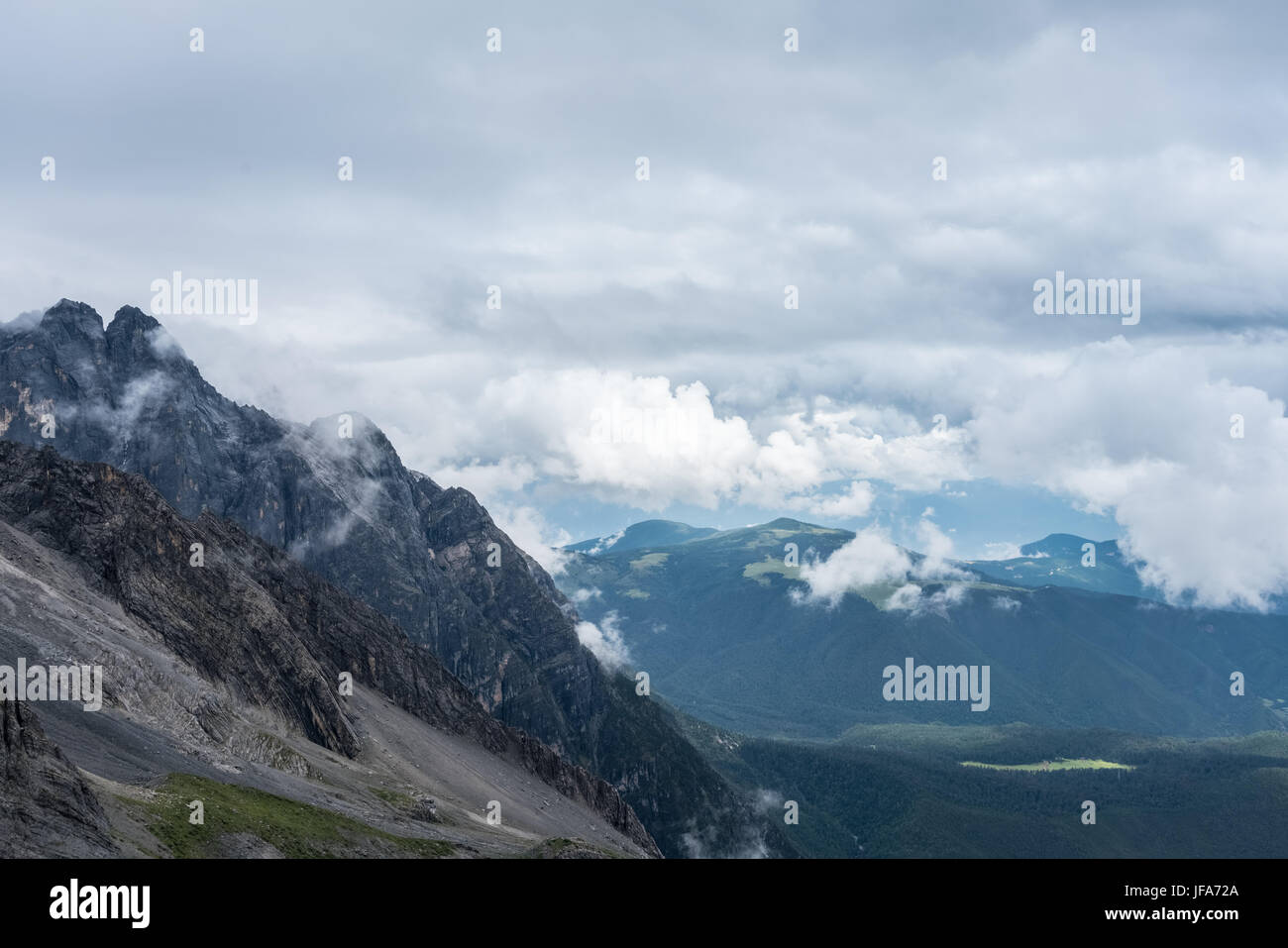 the towering mountains Stock Photo