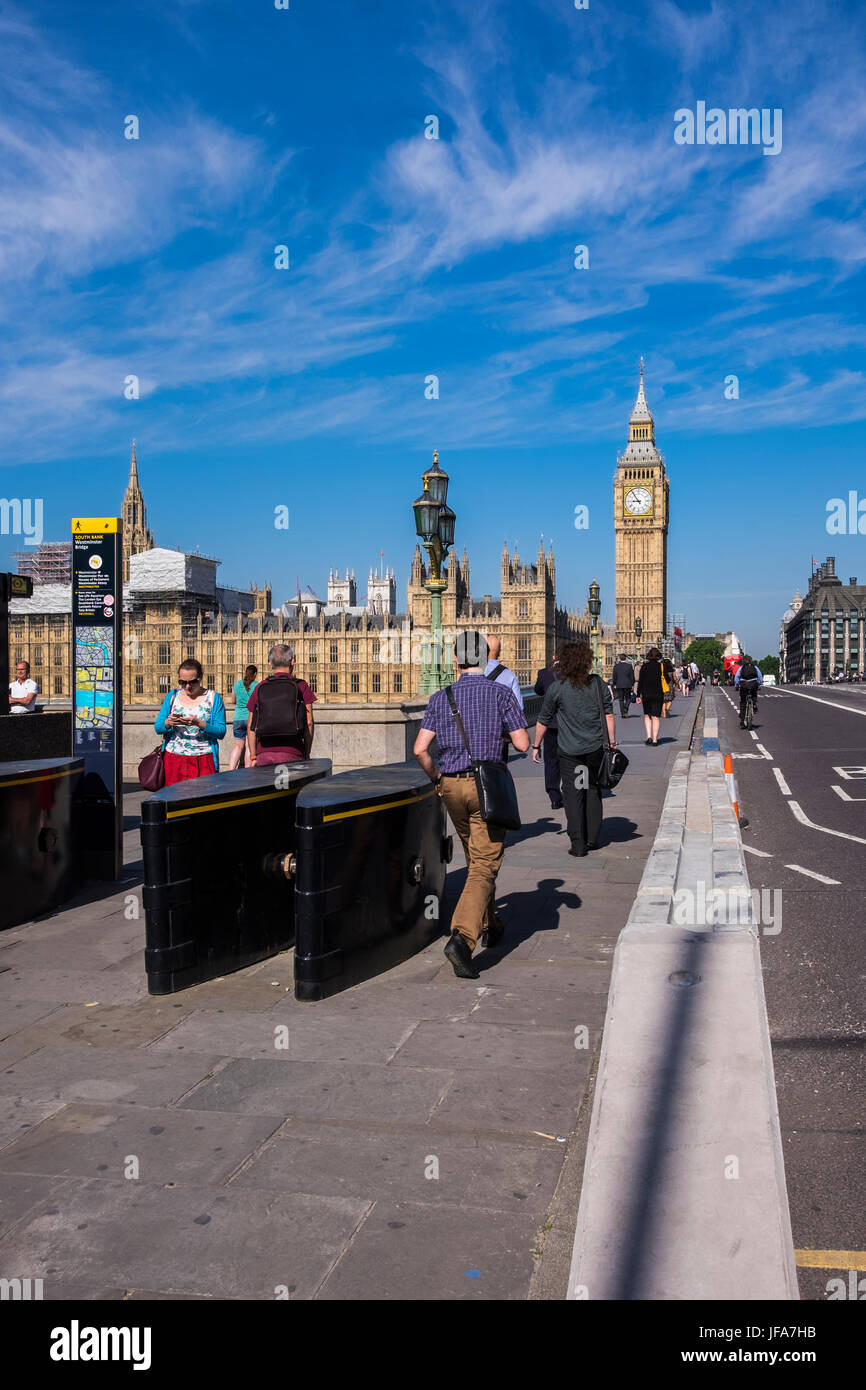 Westminster Bridge security measures after terror attack, London, England, U.K. - Stock Image
