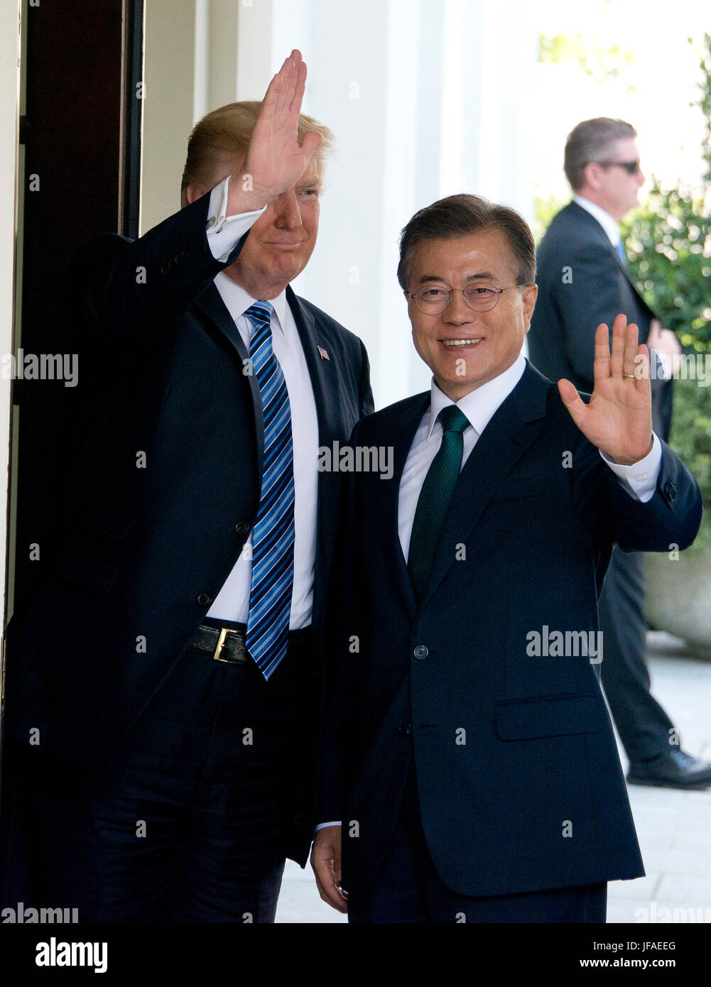 United States President Donald J. Trump welcomes President Moon Jae-in of the Republic of Korea at the White House Stock Photo