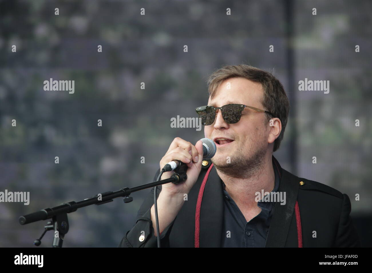 London, UK. 30th June, 2017. James Walsh of Starsailor performing live on the Great Oak stage as part of the 2017 - Stock Image