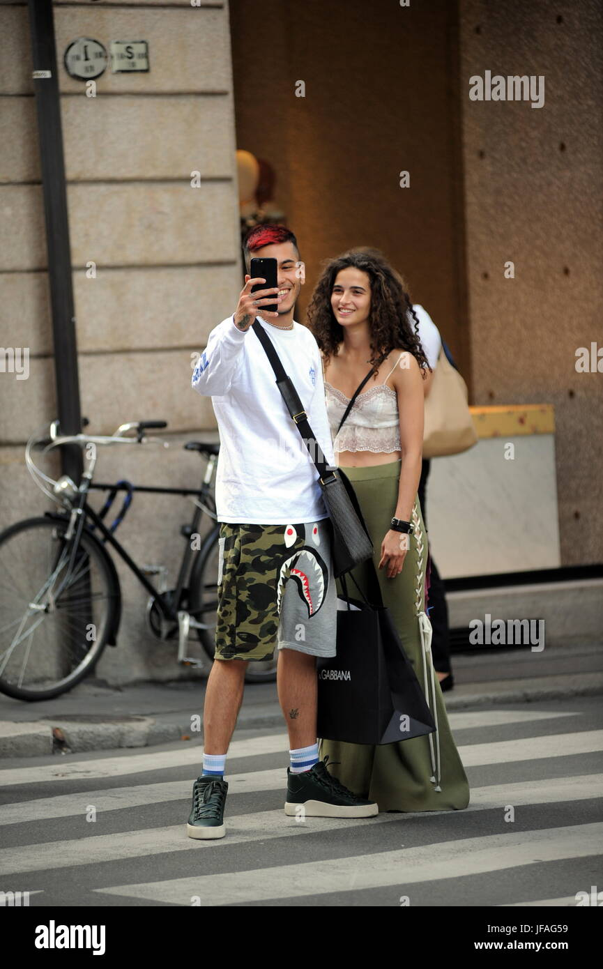 Milan Chiara Scelsi And Sfera Shopping Rapper Together In The Center Stock Photo Alamy