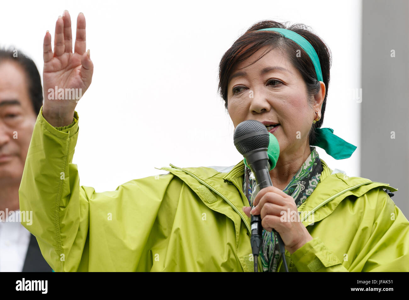 Tokyo, Japan. 1st July, 2017. Yuriko Koike, Tokyo Governor and leader of the Tomin First no Kai (Tokyo Citizens - Stock Image