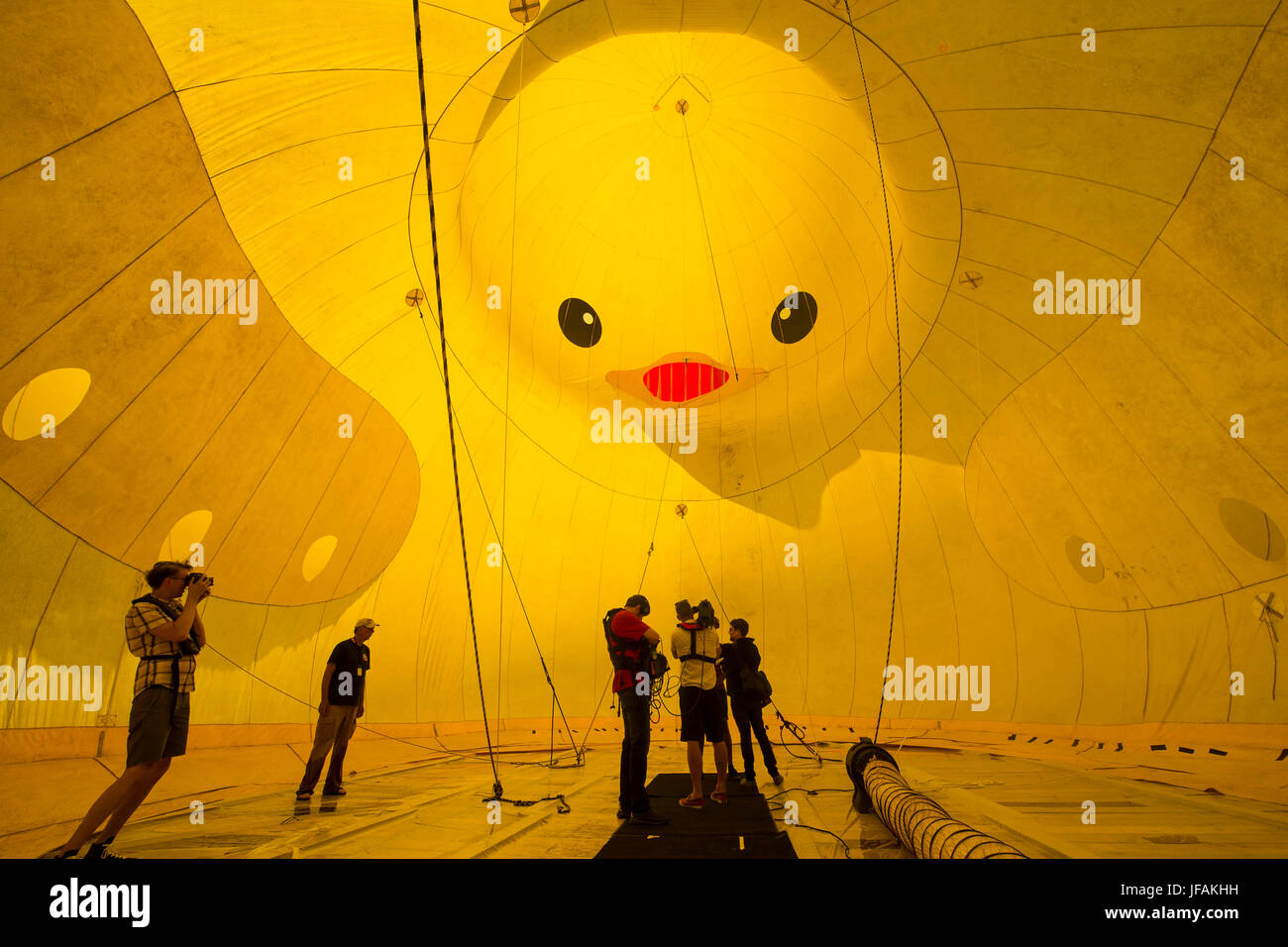Journalists Report Inside A Giant Inflatable Rubber Duck In Toronto,  Canada, June 30, 2017. Credit: Zou Zheng/Xinhua/Alamy Live News