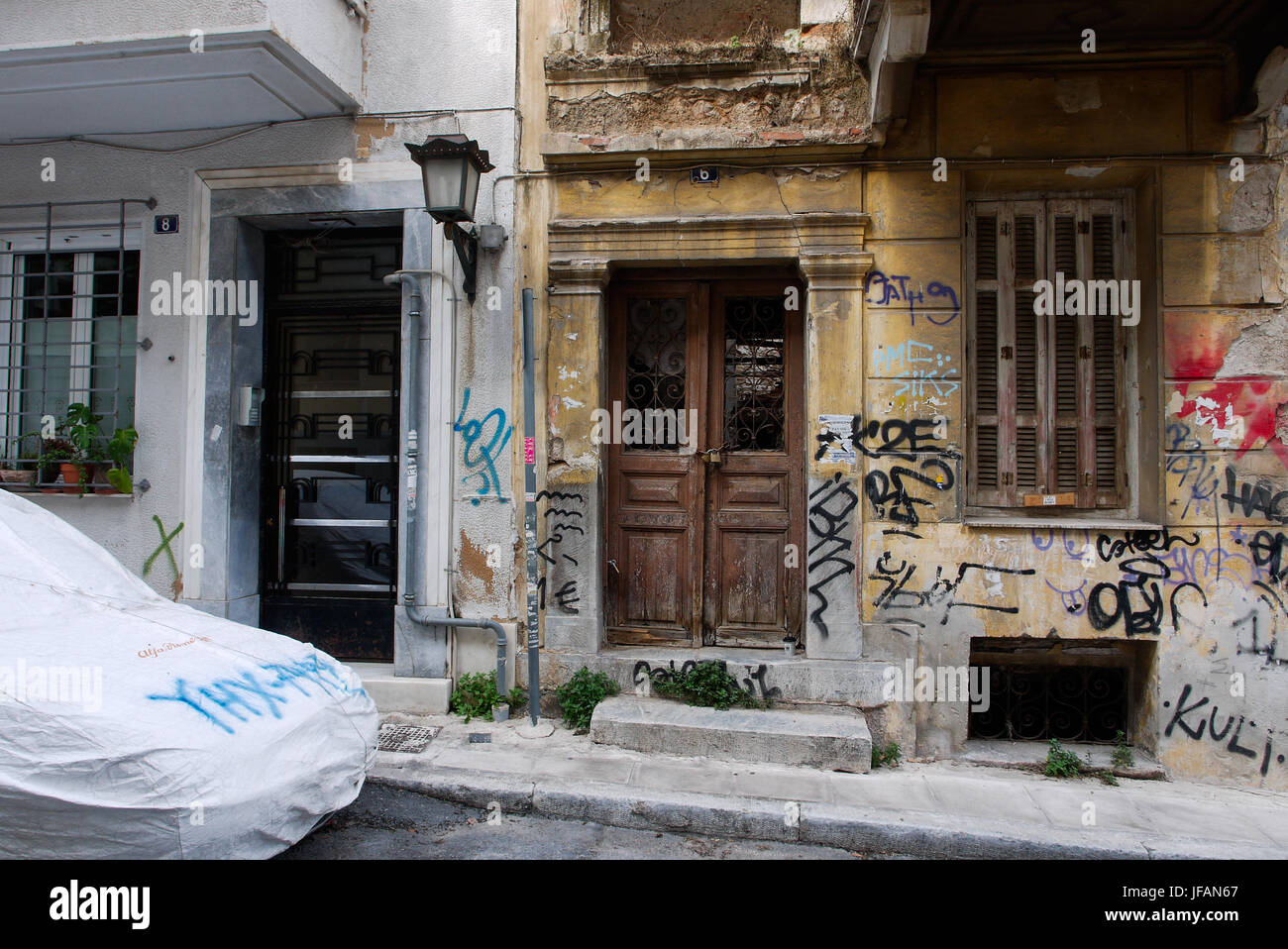 A tour in Plaka district, Athens (Greece) - Stock Image