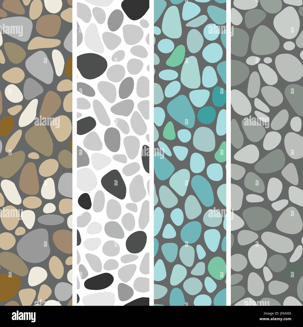 12'x12' rock / tile repeating seamless continuous pattern vector easy color edit (4 patterns) - Stock Image