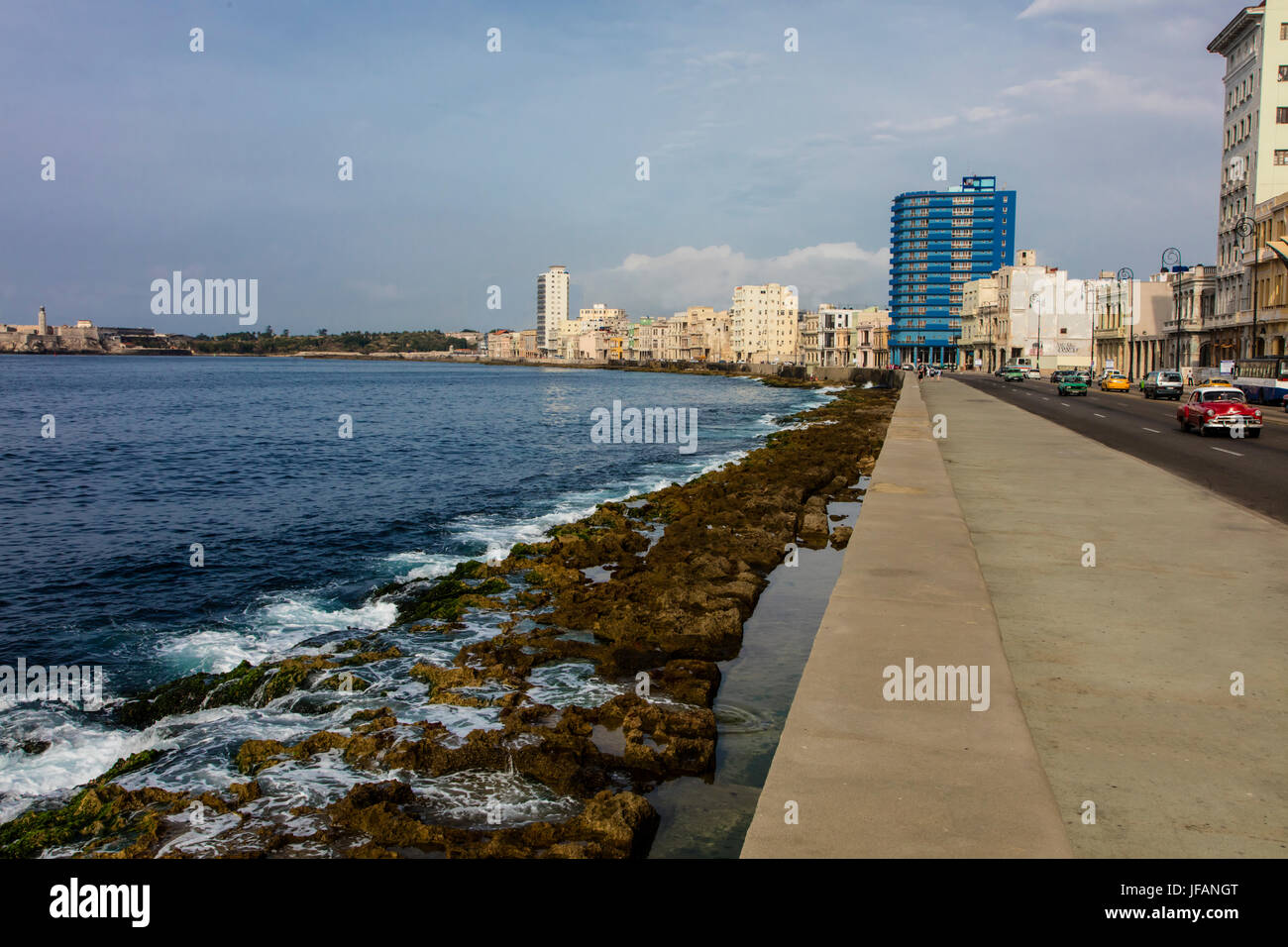 The oceanview along the MALECON - HAVANA, CUBA - Stock Image