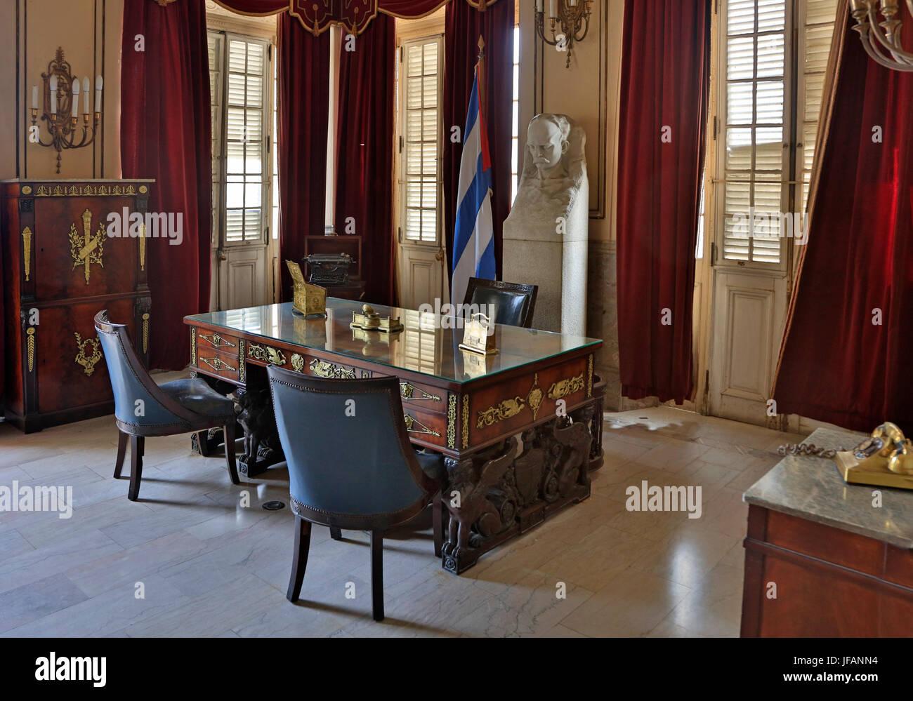 Office of the president in the MUSEO DE LA REVOLUCION - HAVANA, CUBA - Stock Image