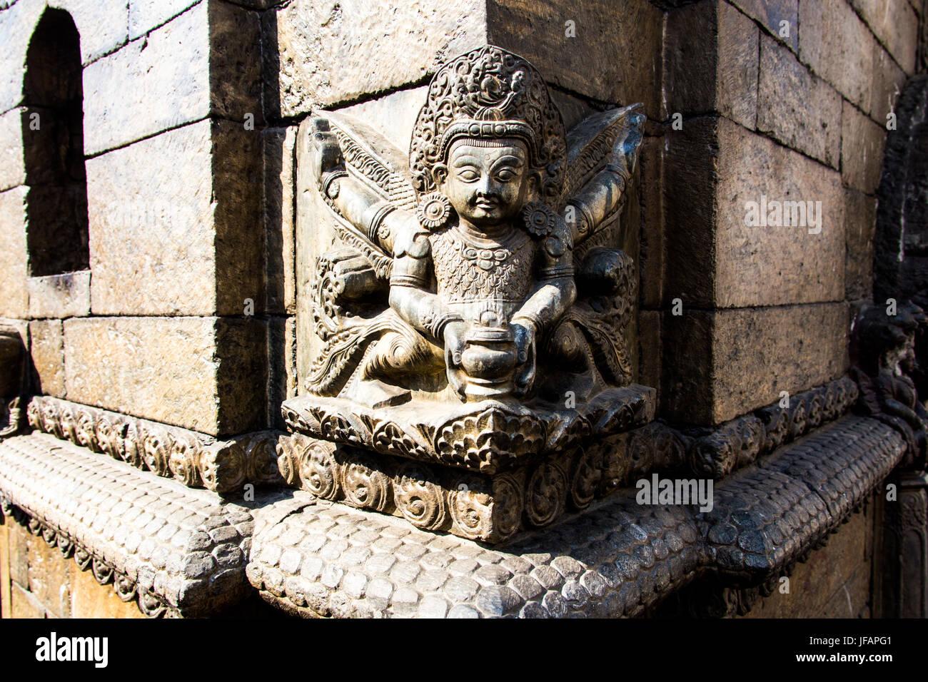 Carved details on a temple at Pashupatinath, Kathmandu, Nepal - Stock Image