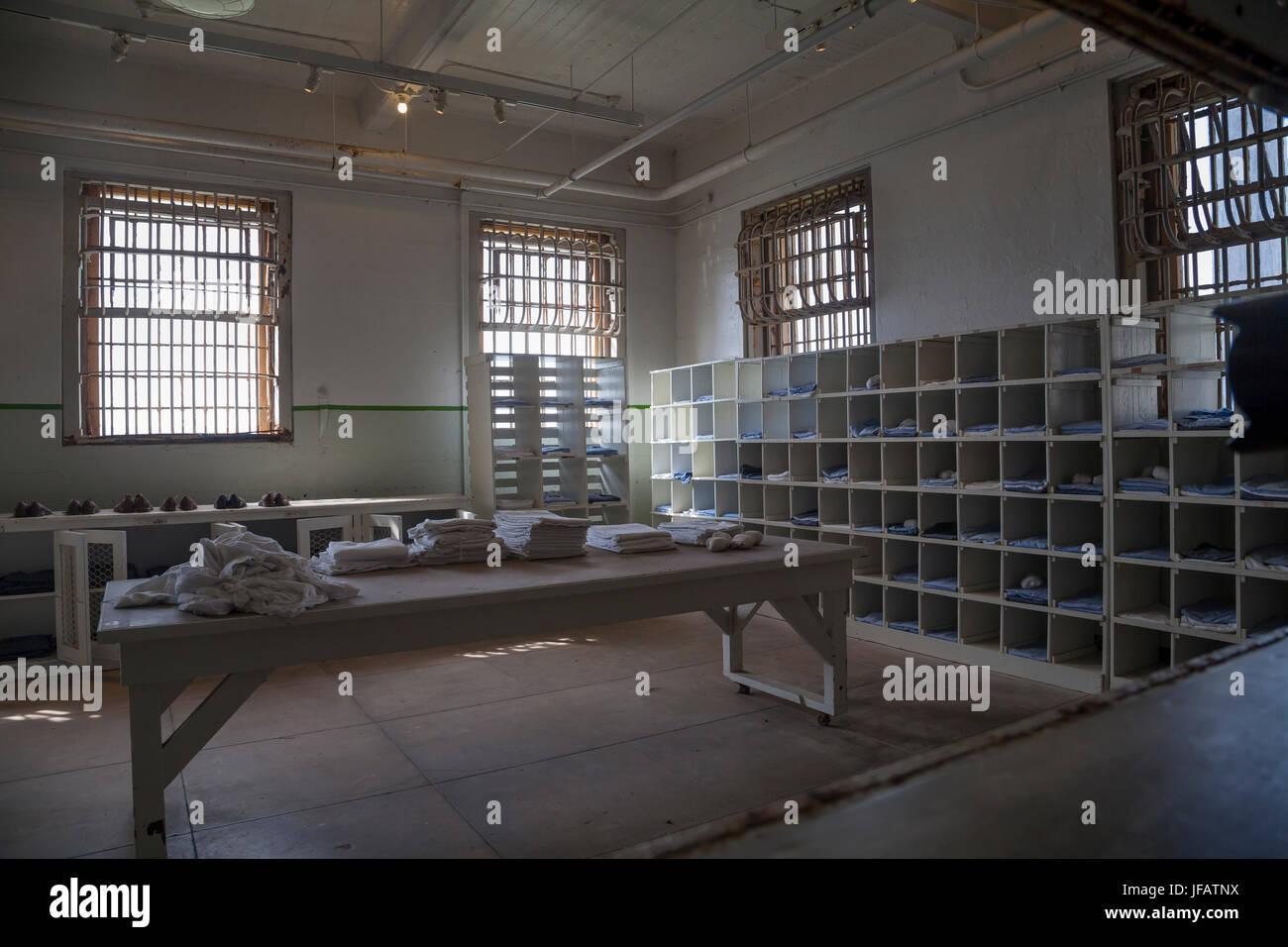 Laundry room in Alcatraz penitentiary, San Francisco, California, USA - Stock Image