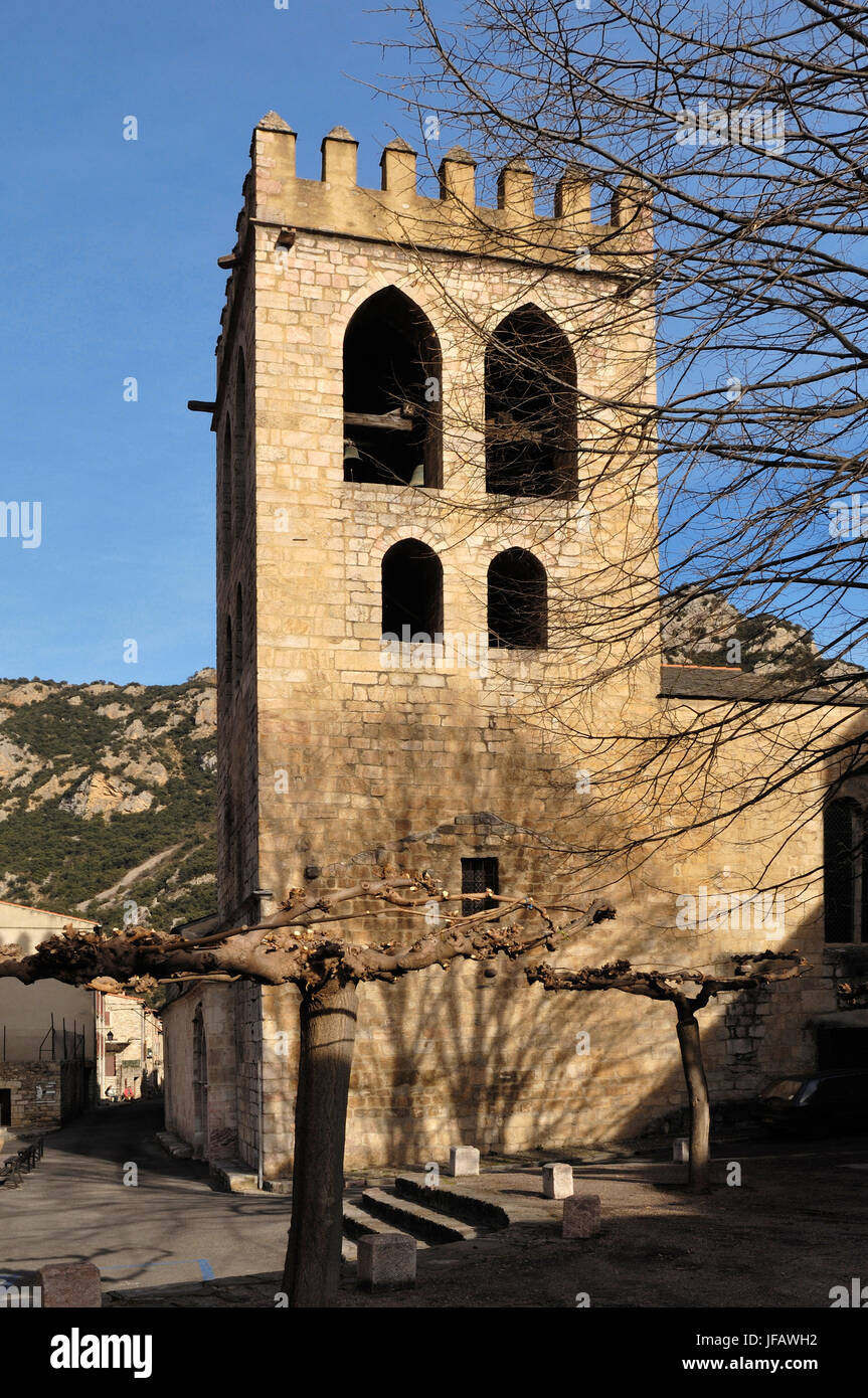 Church of Villefranche-de-Conflent, Pyrennes, France - Stock Image