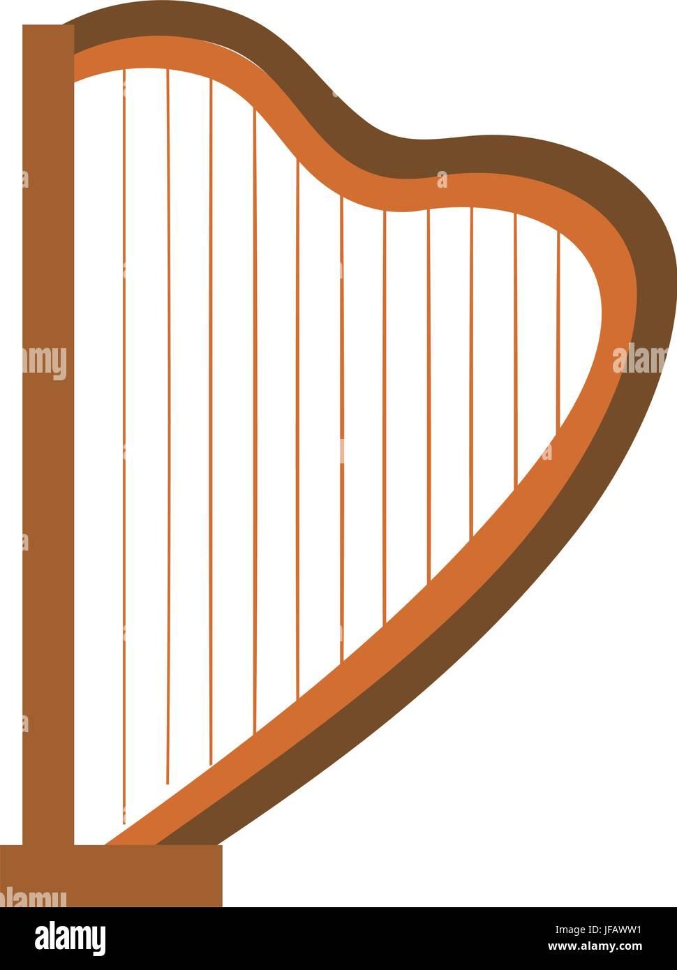 harp musical instrument icon vector illustration design - Stock Vector