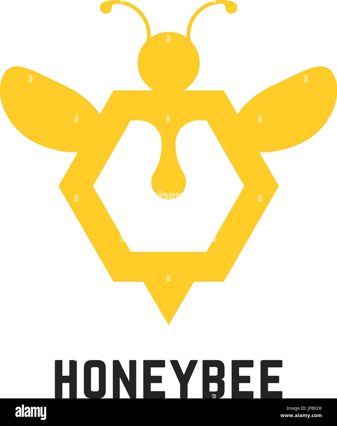 abstract honey bee sign - Stock Vector