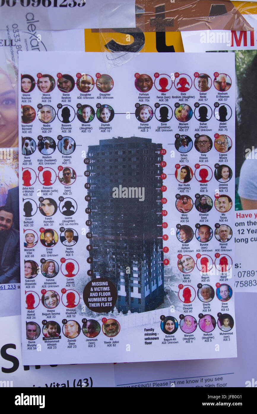 Notices for requests of information of the victims who died Grenfell Tower, the 27-storey tower block fire in west - Stock Image