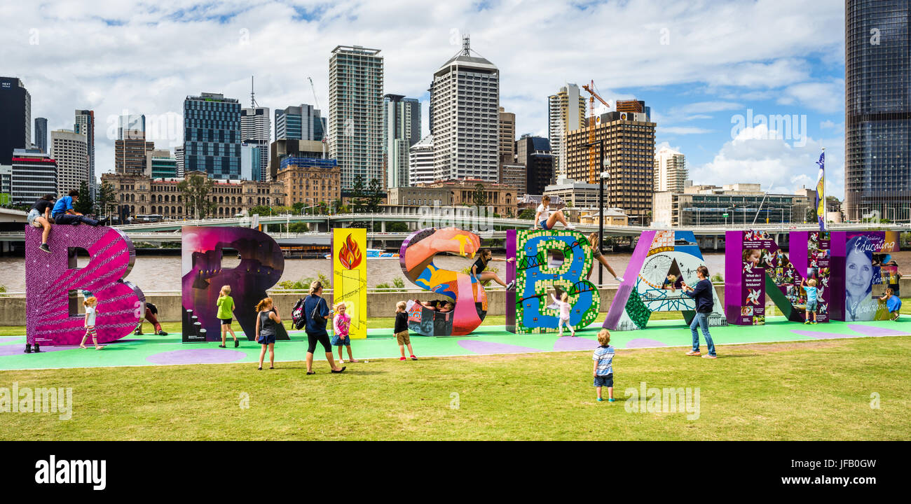 The Brisbane sign, a popular attraction for locals and tourists on the river South Bank Brisbane Queensland Australia. - Stock Image