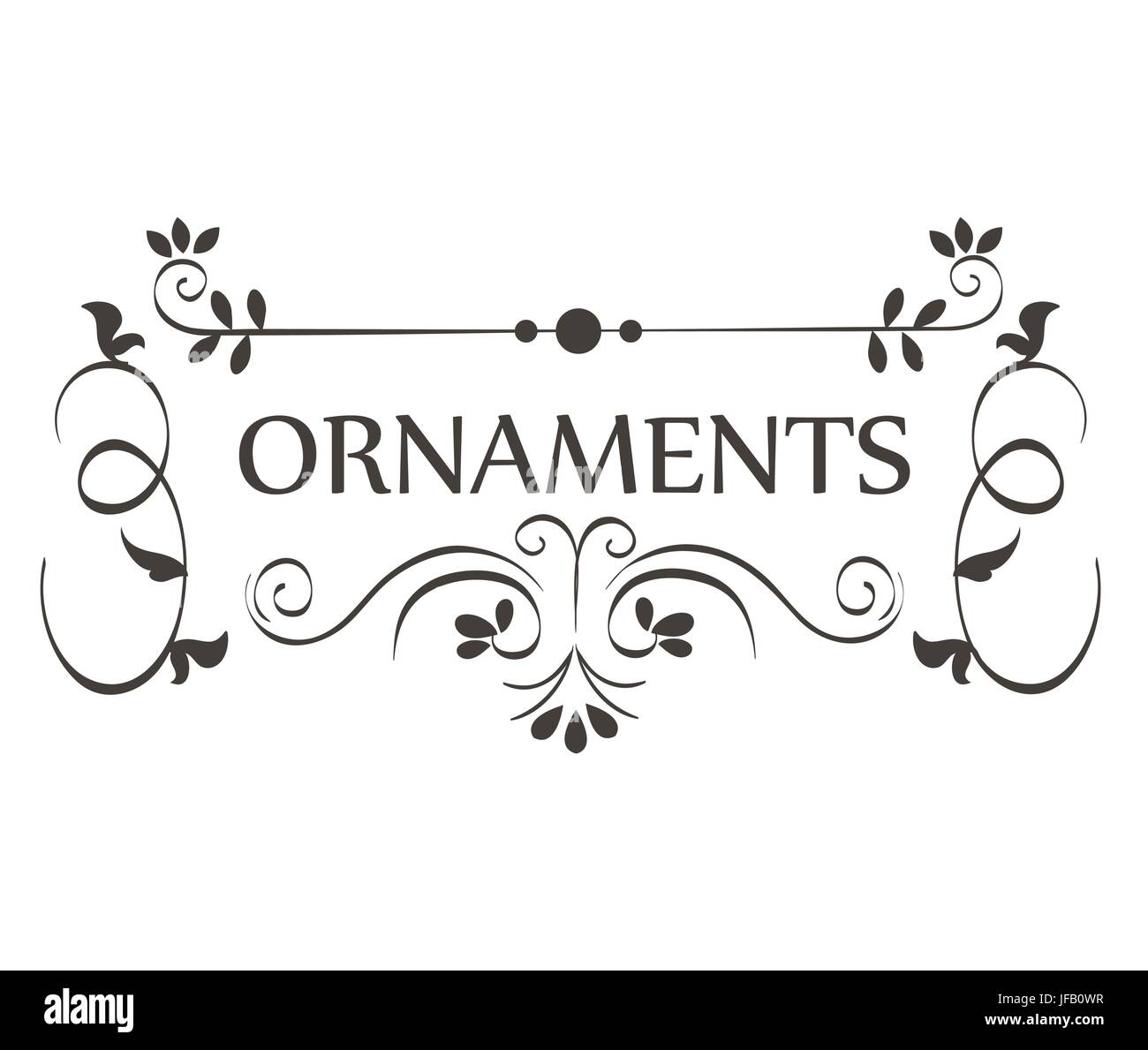 Ornaments Sign With Beautiful Borders Over White Background