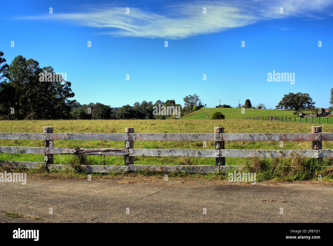 Beautiful countryside scenery of fenced grass landscape with blue sky and trees in the far distance in New South - Stock Image