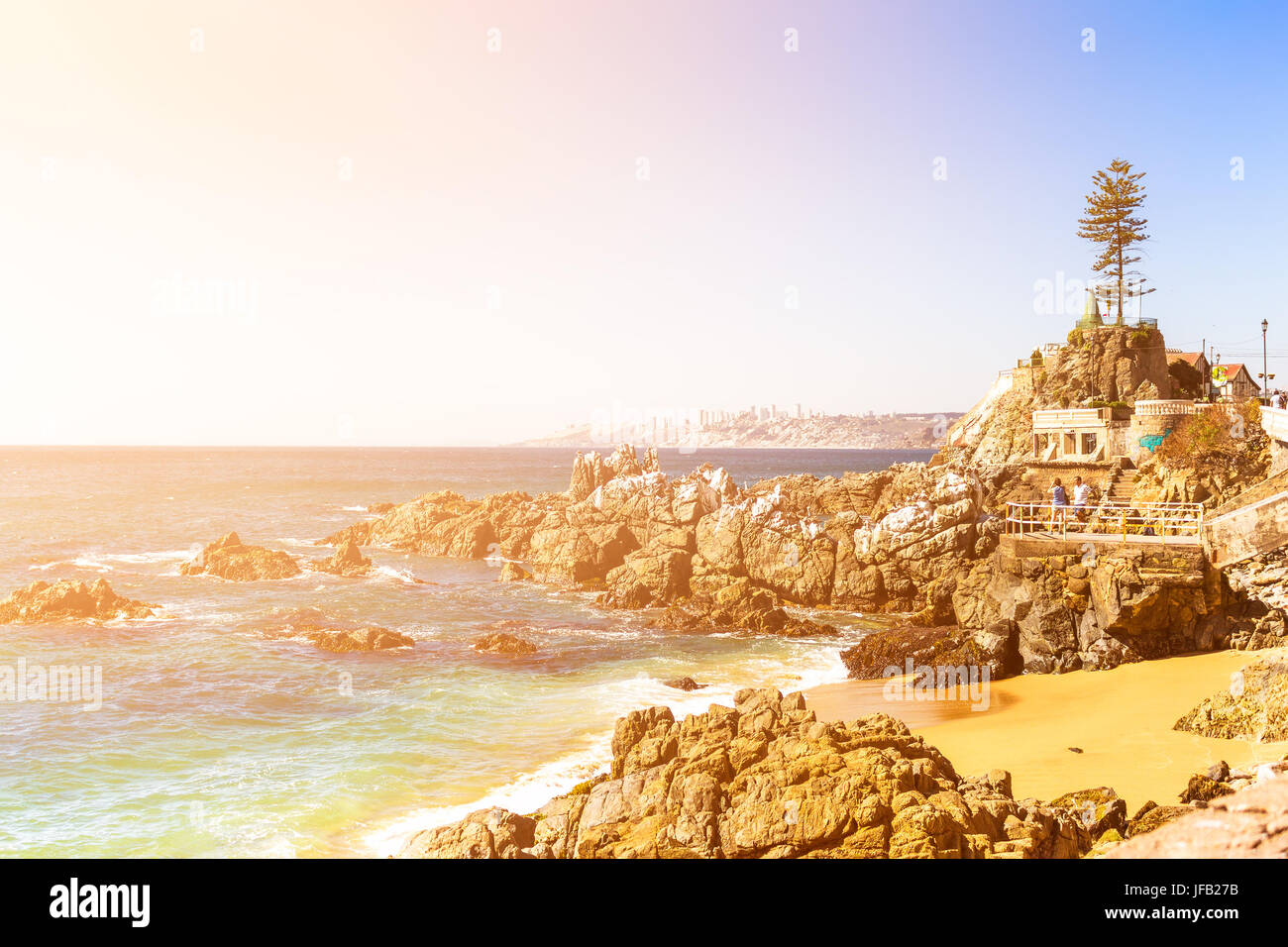 Rocky beach on summer day in Vina del Mar, Chile - Stock Image