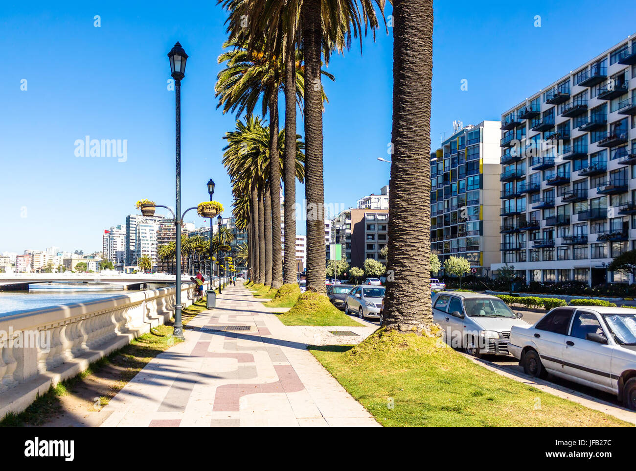 Sidewalk on La Marina embankment in Vina del Mar, Chile - Stock Image