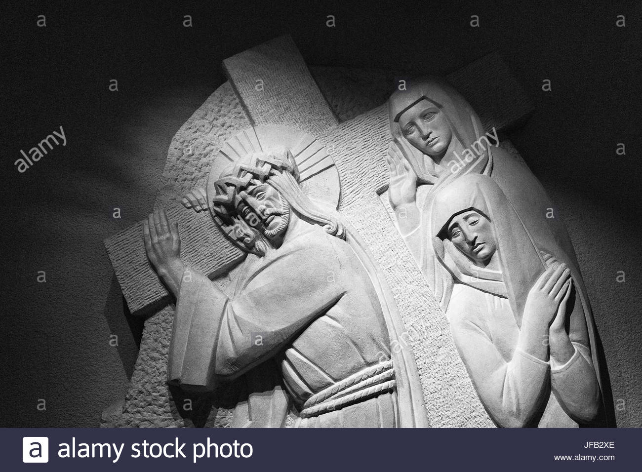 Christian sculptures of Jesus' Passion in the Saint Joseph Oratory basilica church. Natural light. - Stock Image