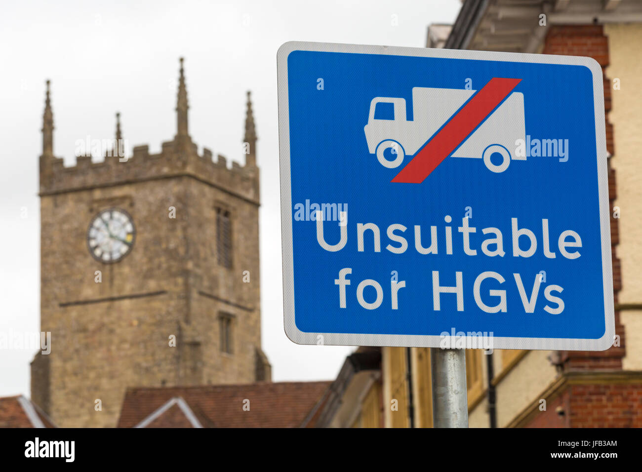Unsuitable for HGVs road sign at Marlborough, Wiltshire in June - Stock Image