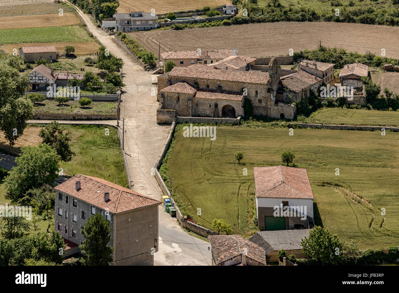 Old road from Santiago de Bilbao to Santander in the town of Frias, Burgos, Castile and Leon, Spain, Europe. - Stock Image