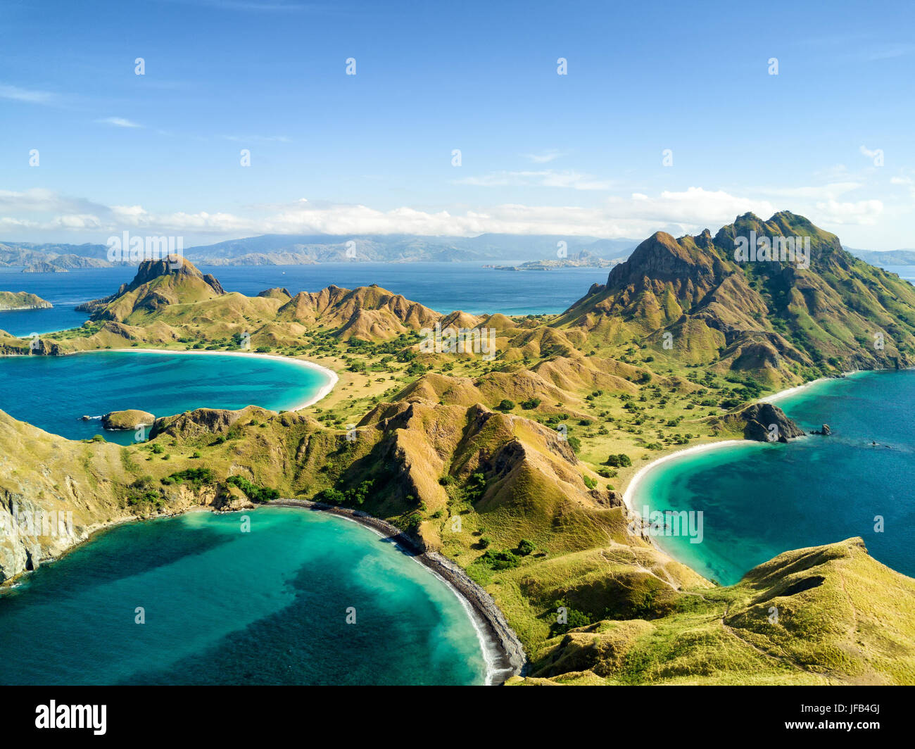 Aerial view of Pulau Padar island in between Komodo and Rinca Islands near Labuan Bajo in Indonesia. - Stock Image