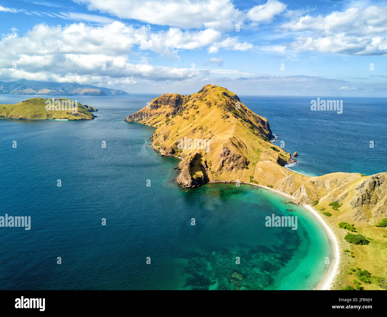 Aerial view of the southern tip of Pulau Padar island in between Komodo and Rinca Islands near Labuan Bajo in Indonesia. - Stock Image
