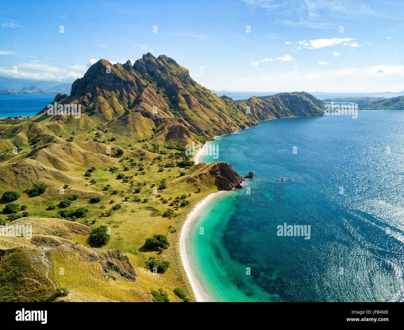 Aerial view of the northern part of Pulau Padar island in between Komodo and Rinca Islands near Labuan Bajo in Indonesia. - Stock Image