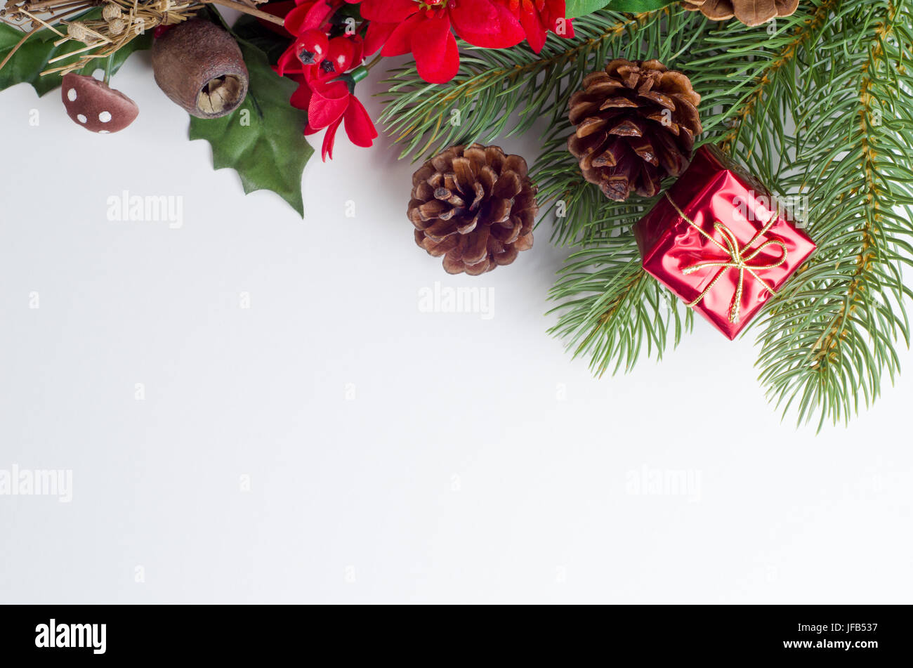 A Christmas themed border running from upper left to right side of ...