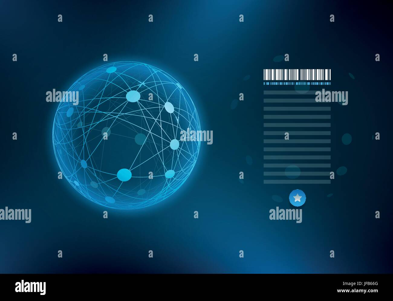 Infographic sphere with connected dots and lines. Stock Vector
