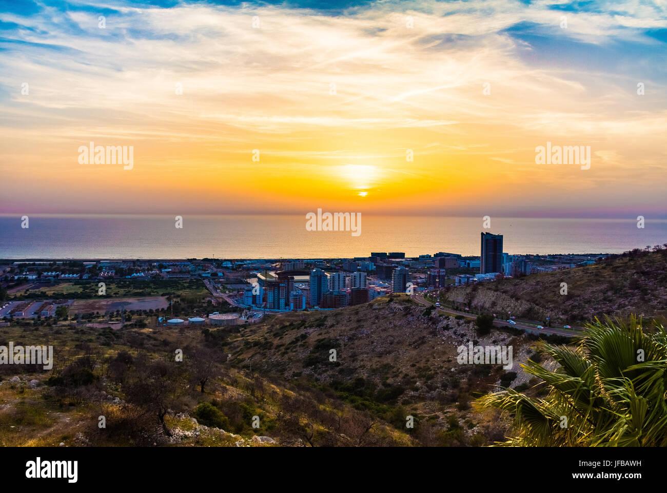 Sunset in Haifa, Israel - Stock Image