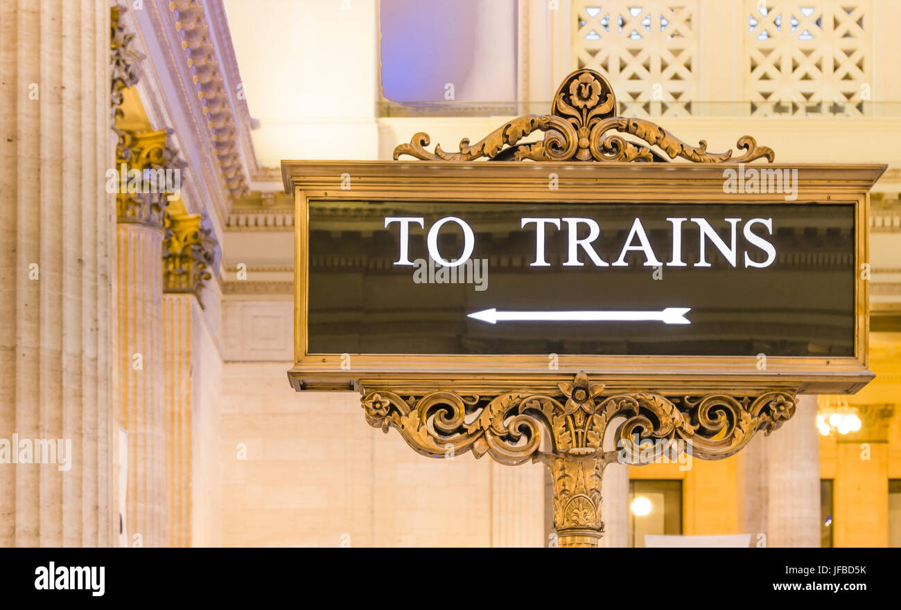 To trains Indication - Stock Image
