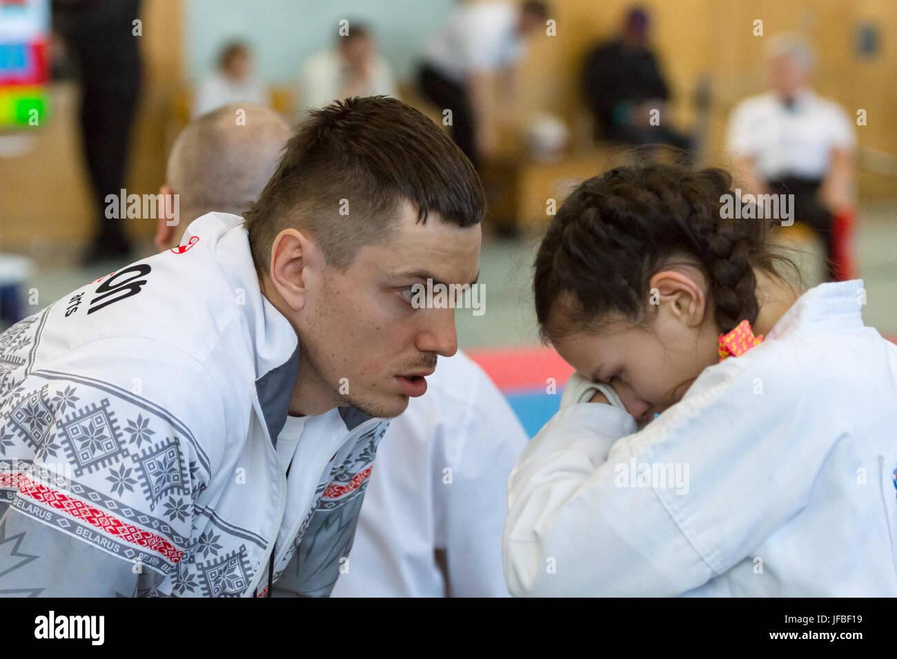 BERLIN - MARCH 18, 2017: The bitterness of defeat. European championship Kyokushin World Union (KWU) for Children - Stock Image
