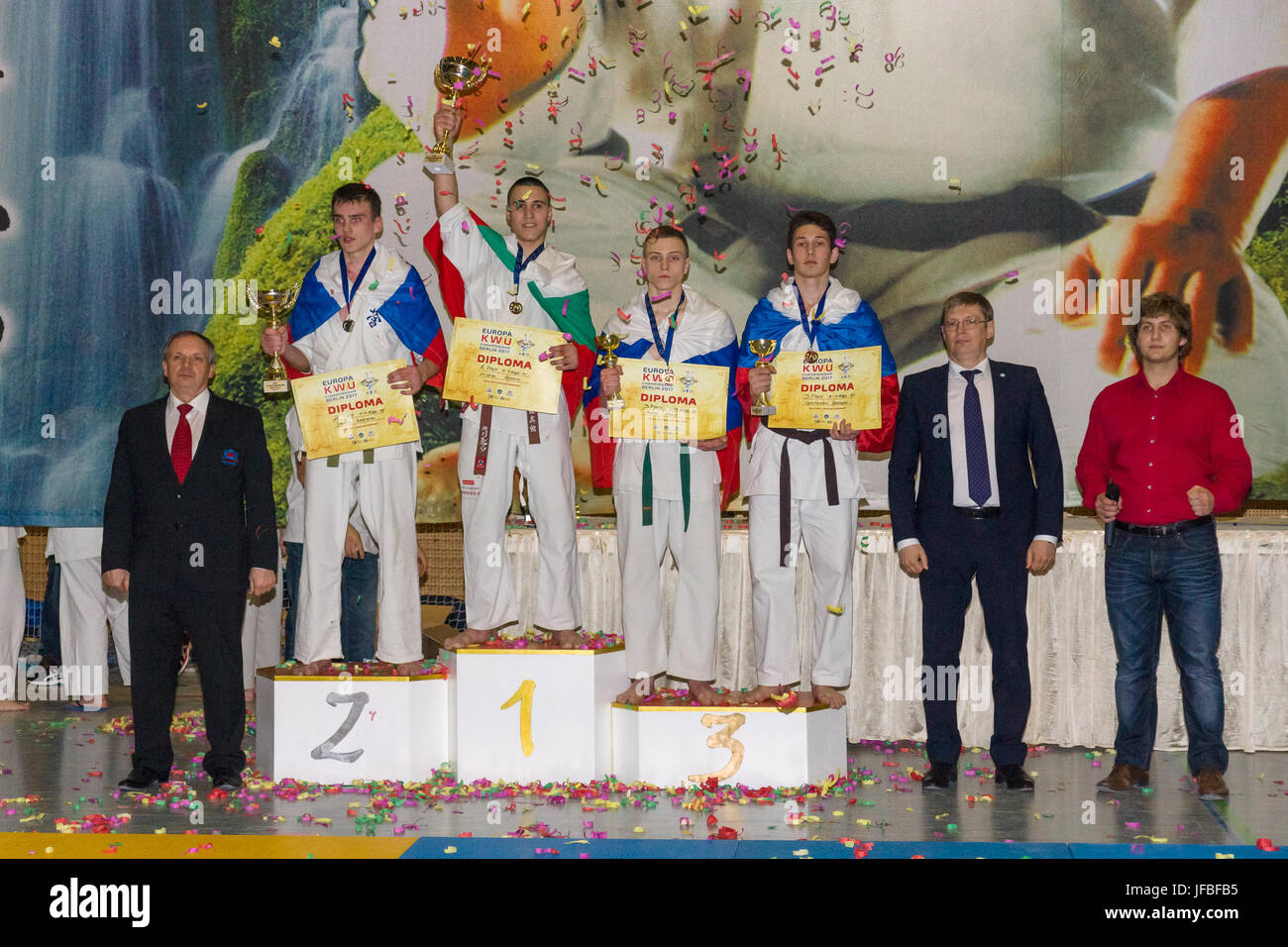 BERLIN - MARCH 18, 2017: Winners of the competition! European championship Kyokushin World Union (KWU) for Children - Stock Image