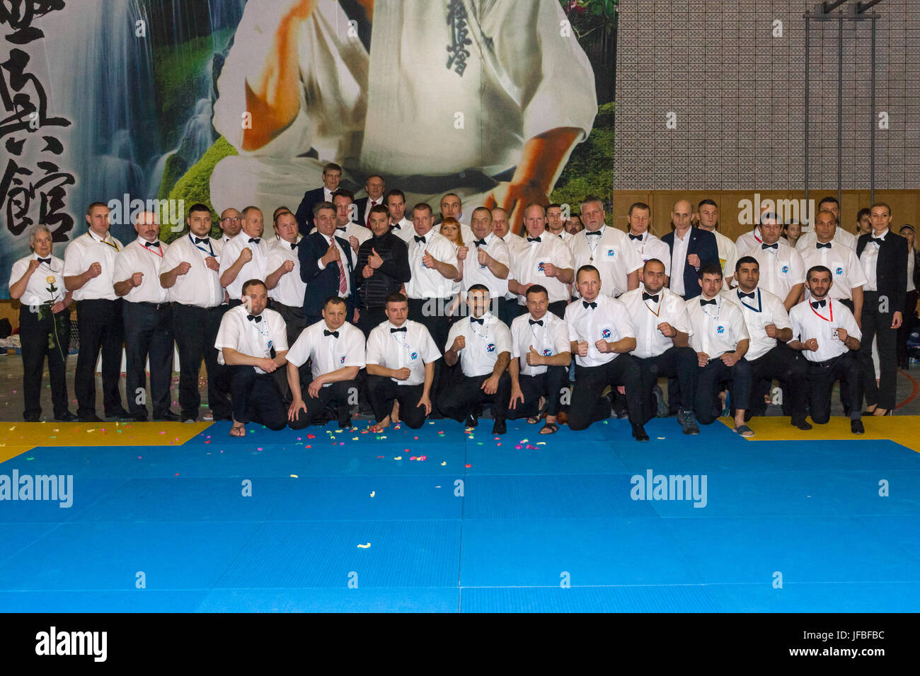 BERLIN - MARCH 18, 2017: Refereeing team. European championship Kyokushin World Union (KWU) for Children and Youth. - Stock Image