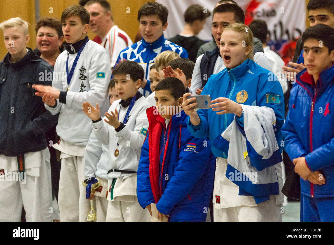BERLIN - MARCH 18, 2017: Emotional fans. European championship Kyokushin World Union (KWU) for Children and Youth. - Stock Image
