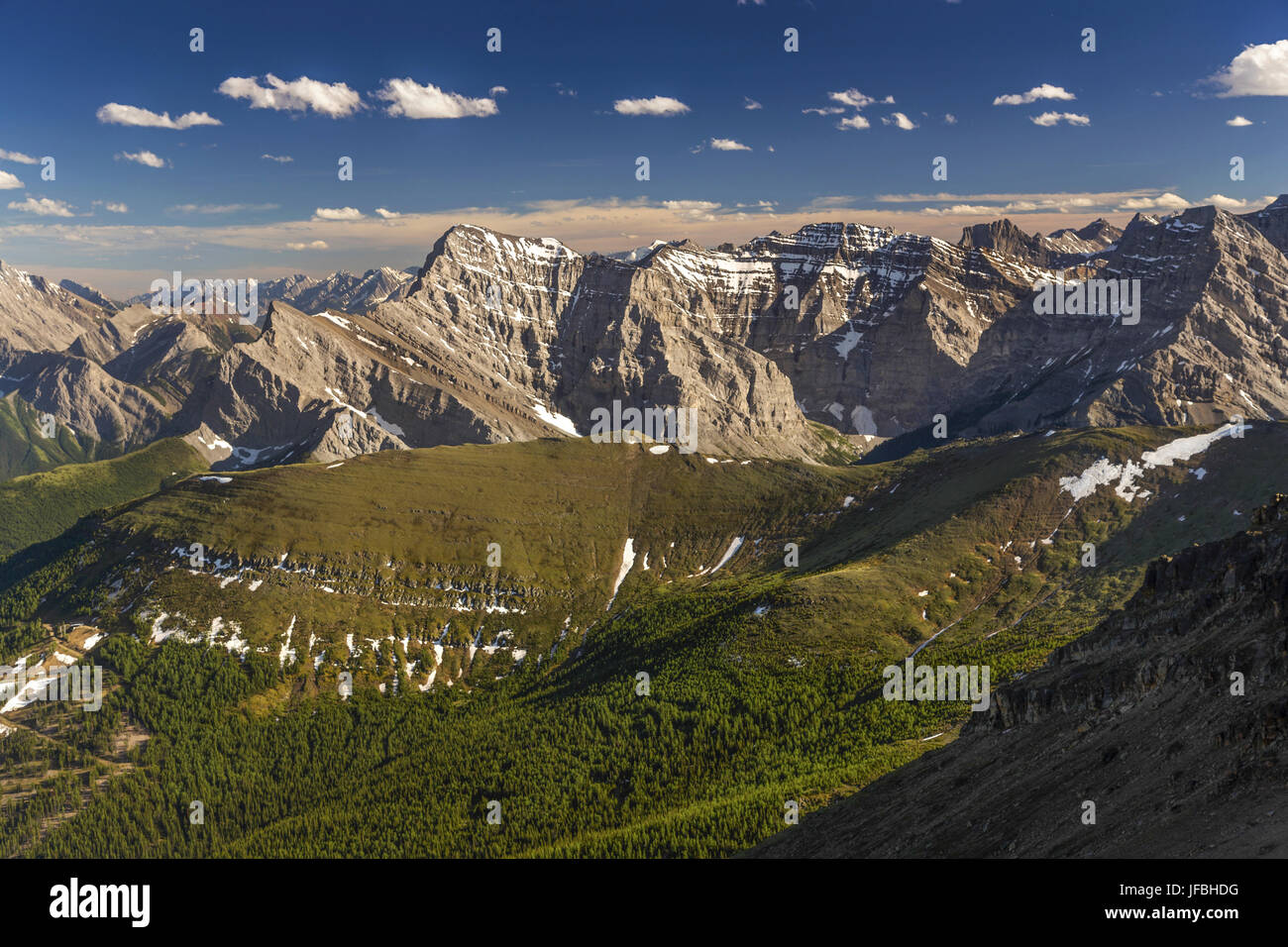 Centennial Ridge Hiking Trail in Kananaskis Country from summit of Mount Collembola in Rocky Mountains Alberta Canada Stock Photo