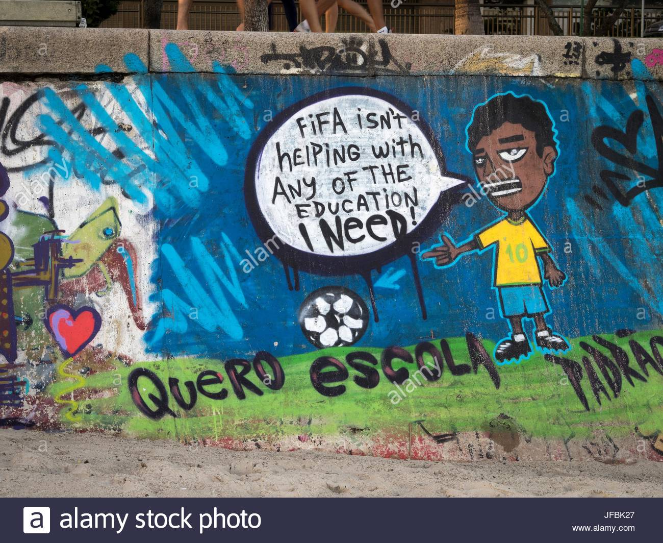 Graffiti protest against FIFA, The Federation Internationale de Football Association. - Stock Image