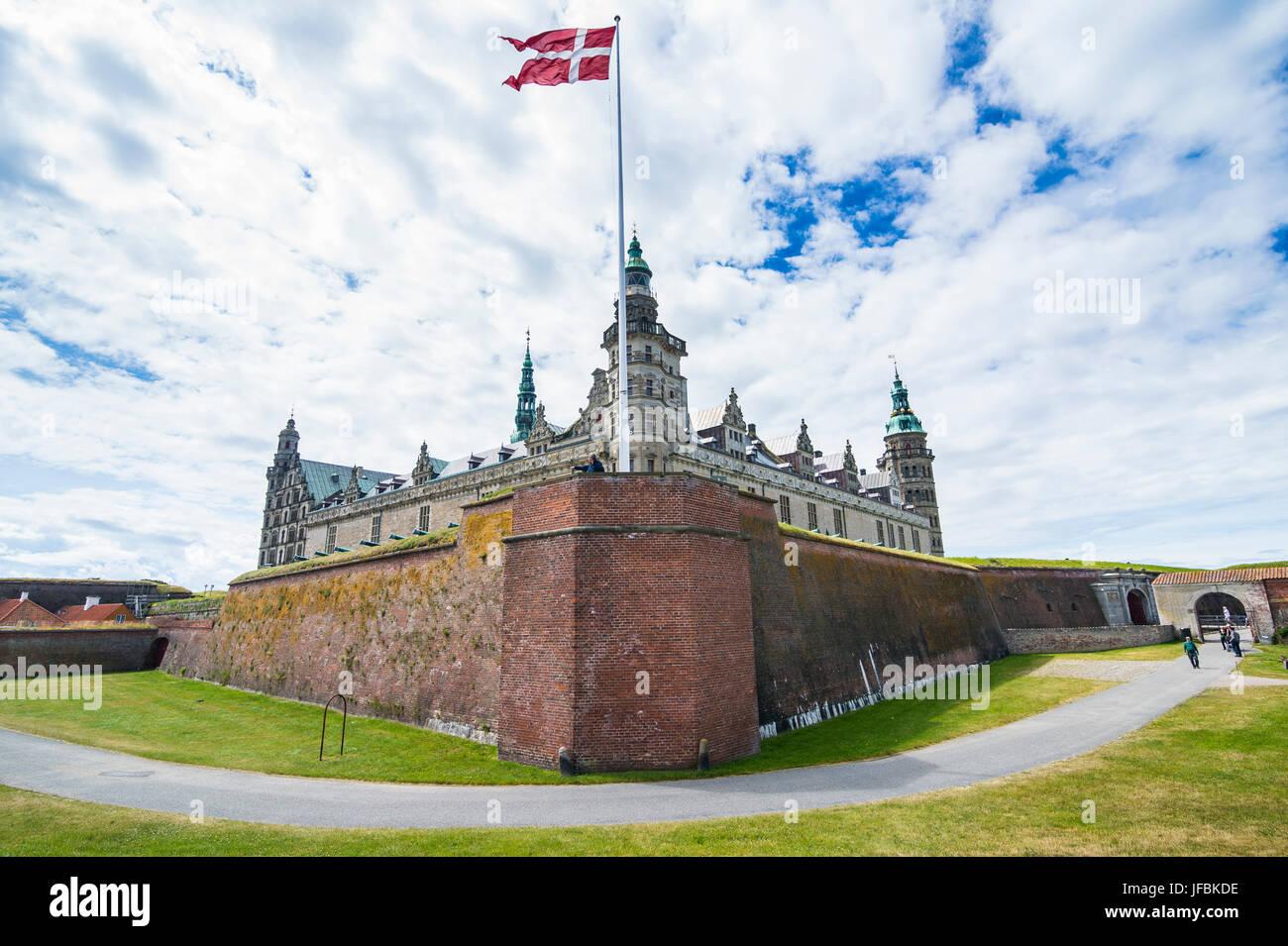 Unesco world heritage sight Kronborg renaissance castle, Helsingor, Denmark - Stock Image