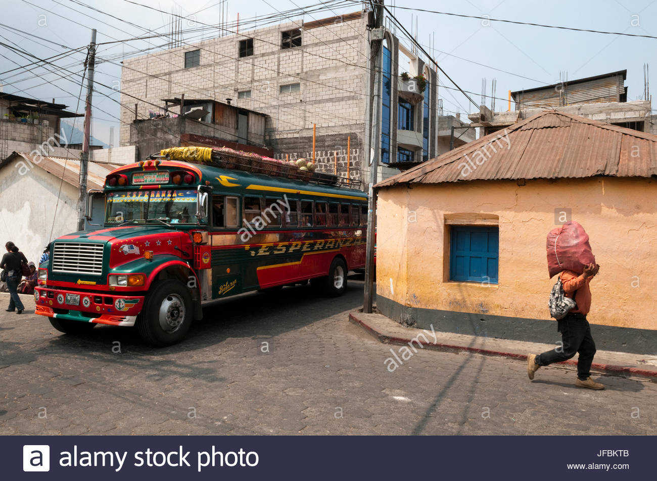 A colorful bus in the streets of Santiago Atitlan. Stock Photo