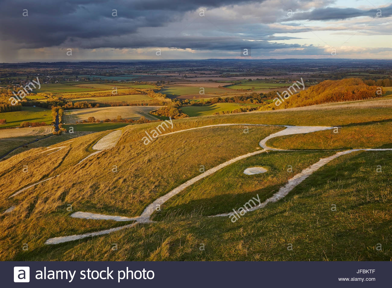 The ancient Uffington White Horse, carved into a chalk hillside near Wantage. - Stock Image