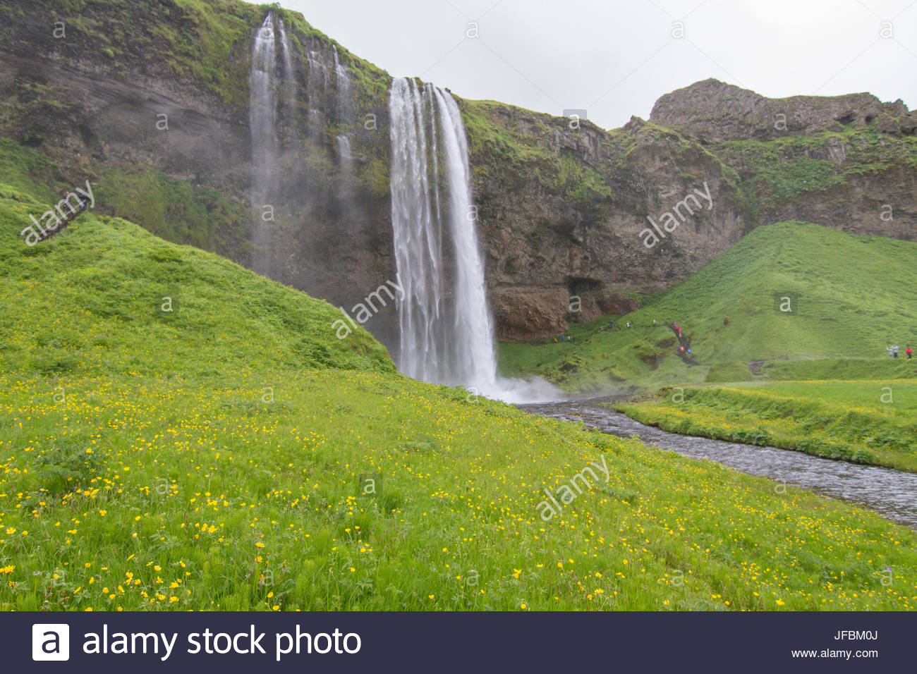 A scenic view of Seljalandsfoss Waterfall. - Stock Image