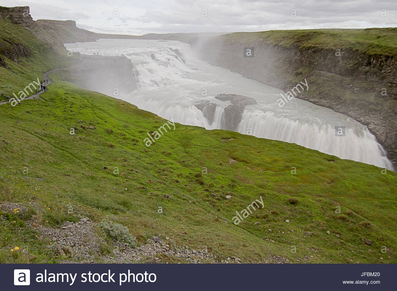 A scenic view of Gullfoss Waterfall. - Stock Image