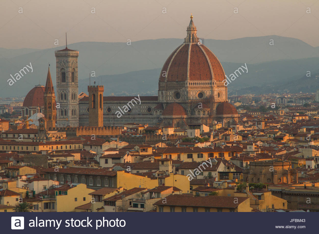 Sunrise over the Duomo and Florence Cathedral. - Stock Image