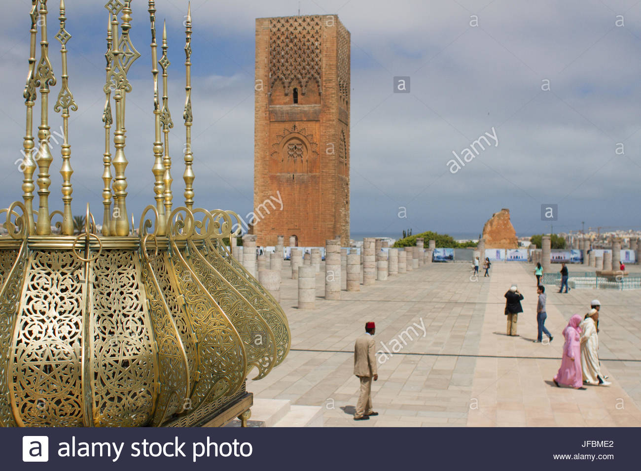 Visitors in the plaza at the Mausoleum of King Muhammad V. - Stock Image