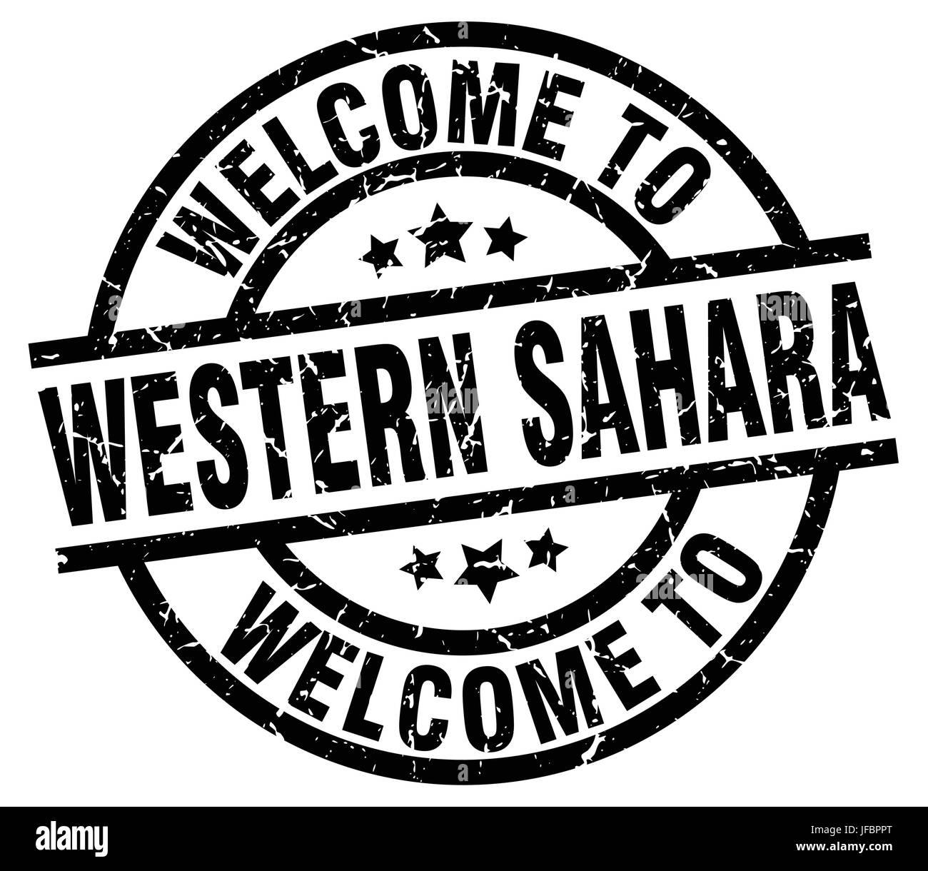 welcome to Western Sahara black stamp - Stock Image