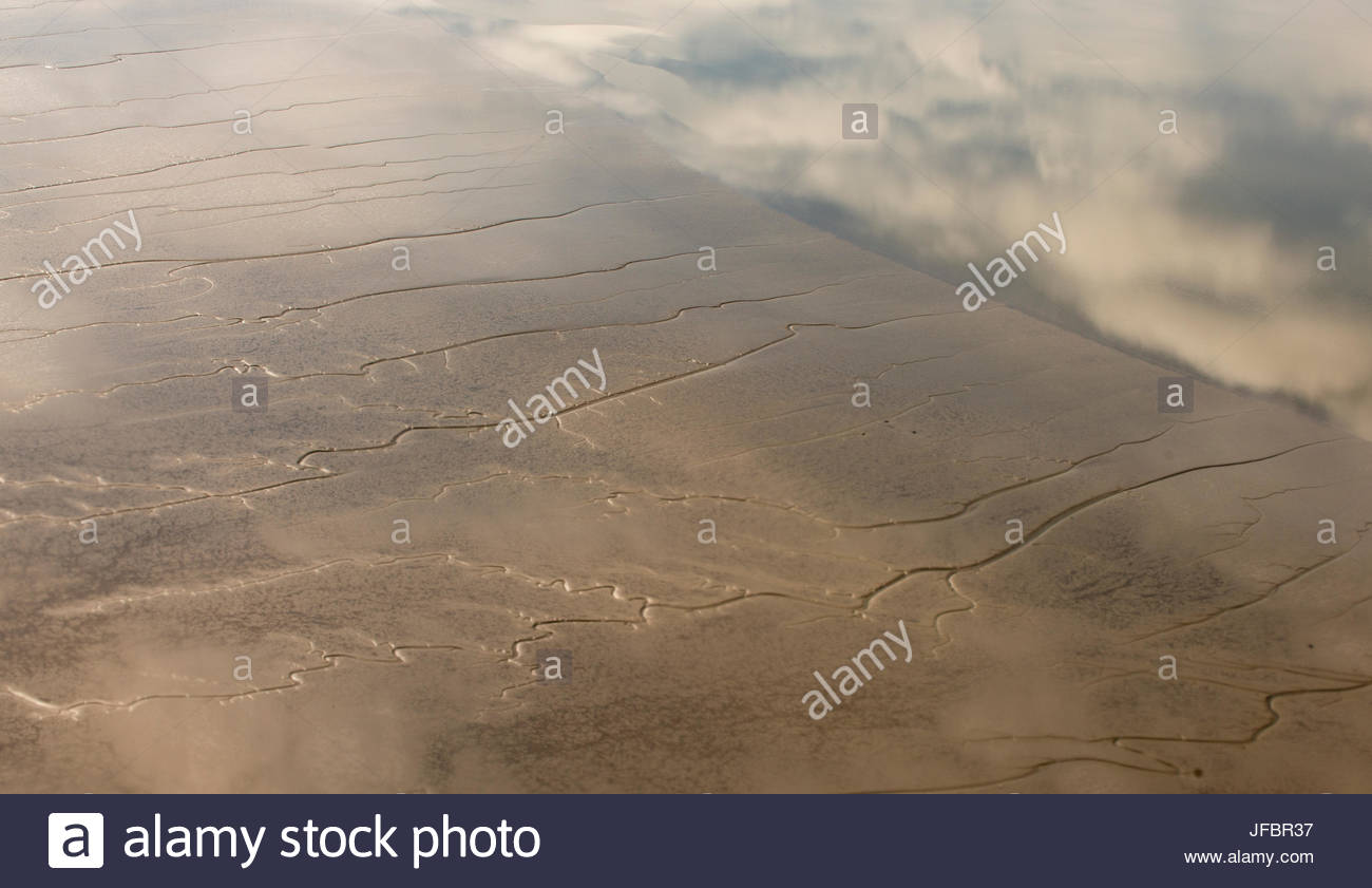 Aerial view of the Shannon region of western Ireland. - Stock Image