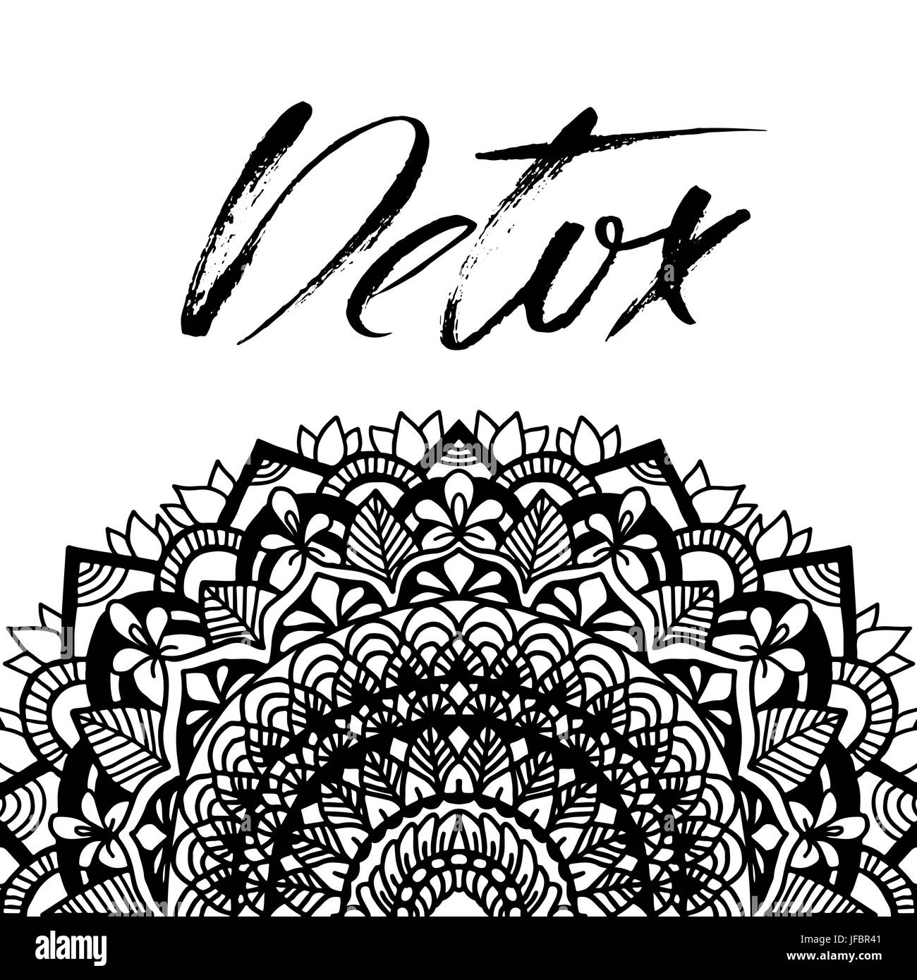 Abstract mandala ornament for adult coloring books. Asian pattern ...