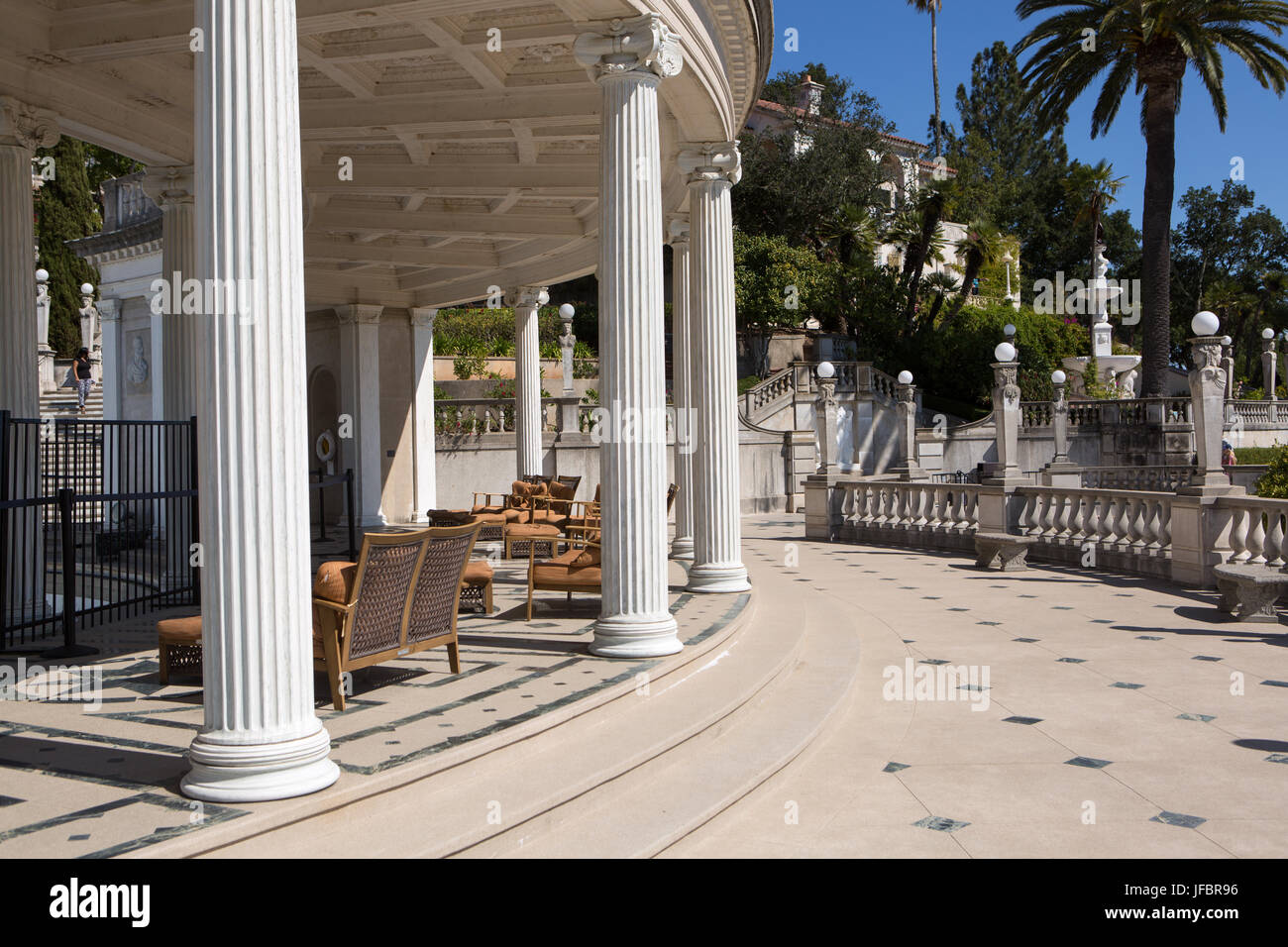 A view of the sitting area and veranda near the Neptune Pool at Hearst Castle. - Stock Image