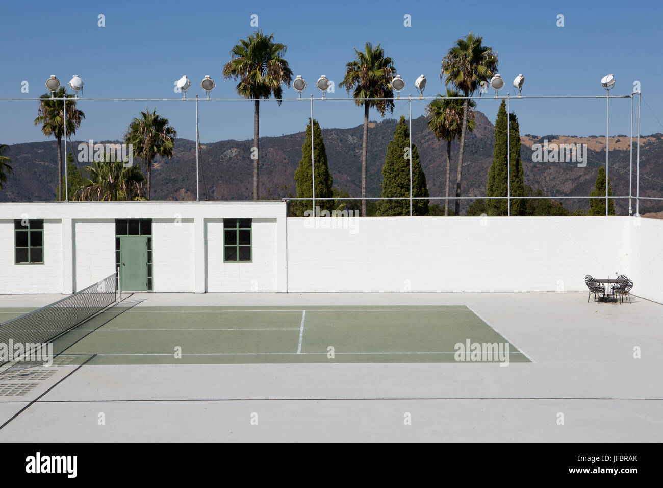 The tennis court at Hearst Castle. - Stock Image